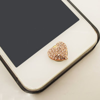 NEW ETSY Black Friday/Cyber Monday 1PC Paved Crystal Heart Jewel iPhone Home Button Sticker Charm for iPhone 4,4s,4g,5,5c Friend Gift