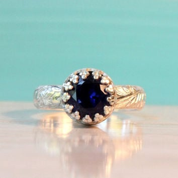 Blue Sapphire ring sterling silver floral band, 8 mm dark blue lab created sapphire, crown setting, vintage style, September birthstone