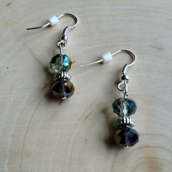 Small beaded drop earrings, smoky gray and purple faceted beads, translucent beaded earrings.