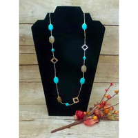 Necklace Handcrafted Glass and Crystal Beads  Brown/Turquoise