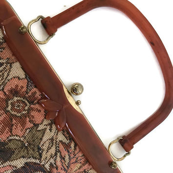 Vintage Tapestry Purse Floral Tapestry Handbag with Butterscotch Bakelite Handle Kelly Bag