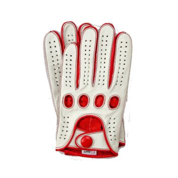Riparo Women's Reverse Stitched Leather Full-Finger Driving Gloves - White/Red
