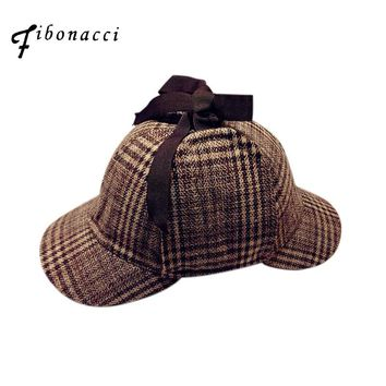 Sherlock Holmes Hat Deerstalker Tweed Cap Movie Cosplay Costume Detective Earflap Unisex Flat Caps Novel Double Brim Berets
