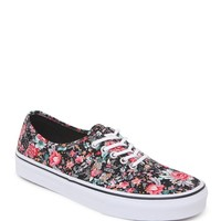 Vans Authentic Black Multi Floral Sneakers - Womens Shoes - Black