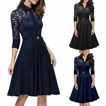 Elegant Lady Women's Lace Mini Dress Cocktail Evening Party Formal Dresses US