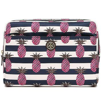 Tory Burch Pineapple Stripe Nylon Cosmetic Pouch