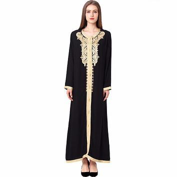 d7539d1ce0c8 Women Maxi Long sleeve long Dress embroidery moroccan Kaftan Caf
