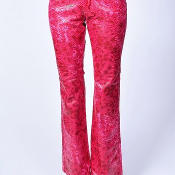 Deadstock Cher Red Crocodile Print Flare Pants