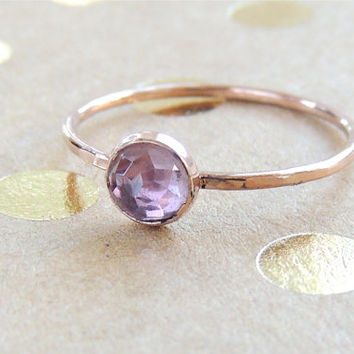 Rose cut Amethyst on rose pink Gold or yellow Gold. Cute stacking ring. Purple Gemstone ring. Made to order