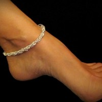 Sexy Summer Anklet - Byzantine Anklet in Silver