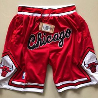 "1997-98 Chicago Bulls Vintage Embroidered Pocket Zipper Ball Pants - ""Chicago"""