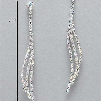 Silver Iridescent Sparkling Drop Earrings
