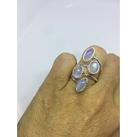 Vintage Genuine Rainbow Moonstone adjustable ring