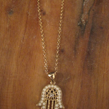 Hamsa Hand Necklace - White Beaded Gold Hamsa Hand necklace
