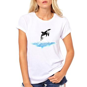 Orca Whale Can Fly Printing Women tshirt Casual Funny t shirt For Lady Top Tee Hipster Drop Ship