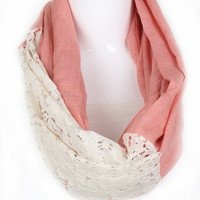 Lace Accent Infinity Scarf - Coral