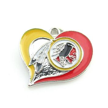 Newest Heart Washington Redskins team logo Dangle pendant Alloy Enamel Football Pendant necklace For DIY Sports Jewelry