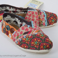 Tom's Fabric Covered Shoes by JageInACage on Etsy
