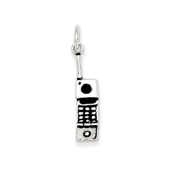 Sterling Silver Antiqued Cell Phone Charm