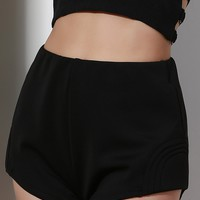 Trendy High-Waisted Zippered Women's Black Shorts