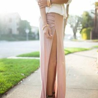Side Slit Ruched Jersey Fitted Maxi Skirt