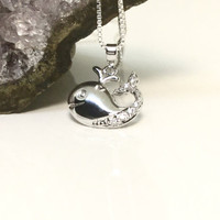 CZ Whale Pendant Sterling Silver Whale Necklace Baby Whale Pendant CZ Diamond Whale Charm Diamond Animal Necklace 925 Silver CZ Pendant