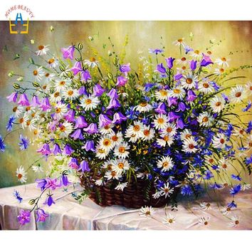 flowers wall art paintings for the kitchen home decor Painting Calligraphy modern pictures draw by numbers on canvas WYA324