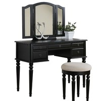 Black Vanity Mirror and Make-Up Table Set with Stool