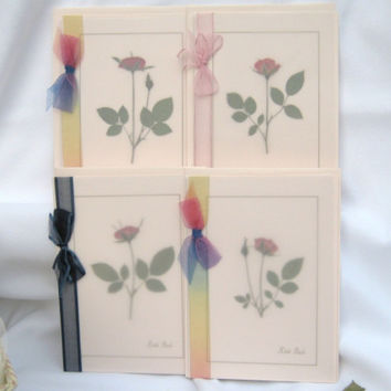 Happy Easter Cards, 4 Pressed Flower Rose Cards, Pink 5x7 Cards With Vellum And Ribbon Frameable