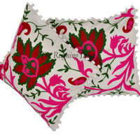 Cushion Cover White Embroidery Set Of 2 Throw Decorative Sofa Pillow Case 0049