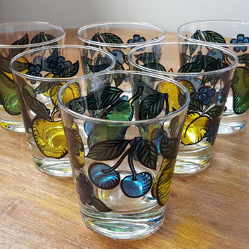 Retro Dominion Juice Glasses with Fruit Motif, Stained Glass Like, Set of 6, Cherry, Apple, Peach, Pear & Flowers, Mid Century, Mint-1950's