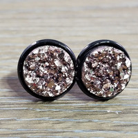 Druzy earrings- Rose Gold drusy Black stud druzy earrings