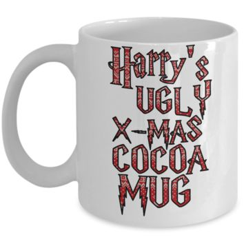 Best Funny Ugly Christmas Cup Gift - 11OZ Pencil Mug - Perfect for Holidays, Birthday, Men, Women, Gift for Him & Her - Fun Inspirational Humor & Ugly Cup for - Cute Harry X-Mas 11 oz Mug For Hot Cocoa, Coffee & Tea - Personalization Gifts!