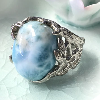 Natural larimar silver ring, oval 15mm*20mm, blue ocean color, forest style , trendy jewelry for men and women