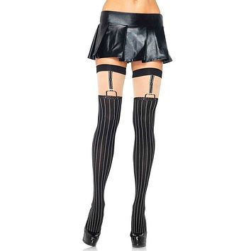 Gangster's Paradise Nude Black Vertical Pinstripe Pattern Suspender Cut Out Thigh High Stockings Tights Hosiery