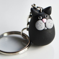 Cat Keyring Keychain, Fimo, Polymer Clay