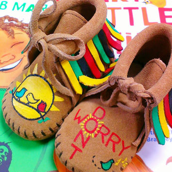 Custom Bob Marley Don't Worry Three Little Birds Baby Moccasins