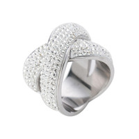 Fashion Jewelry Cross Ring Trendy Ring Stainless Steel Austrian Crystals Womens Rings
