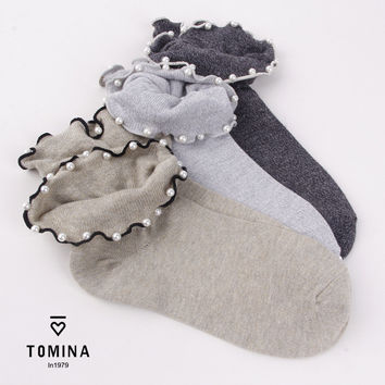 2016 CH-007 Spring fall/winter new women's socks high quality solid color pearl decoration ruffled female cotton socks