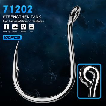 100pc fish hook Strong High-carbon steel KUDAKO Series Jig Hook Fishing Hook Saltwater Bass 71202-1#-6/0# Hook