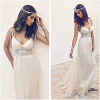 Robe de mariee Beaded V-Neck Bohemia Wedding Dresses 2017 Sleeveless Beach Wedding Gown Boho Bride Dress Vestido de noiva