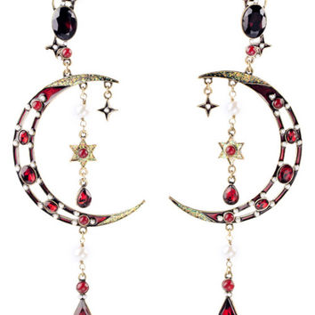 Moon and Star Drop Earrings