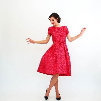 Vintage 1960s Silk Dress - 60s Floral Dress - Raspberry Red Floral Ikat Print