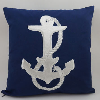 "Anchor Pillow Cover, Embroidery, Nautical Pillow, Beach decor, Decorative Pillow, Accent Pillow, 18""x18"", Navy, Ready to ship"