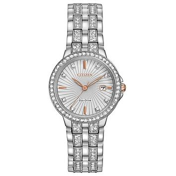 Citizen Eco-Drive Womens Watch - Swarovski Crystals - Stainless Steel - Date
