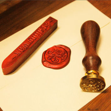 Fashion Alphabet Letter A Retro Wood Sealing Wax Classic Initial Wax Seal Stamp Set Christmas Gift [9636707215]