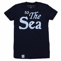 to The Sea: Women's Fine Jersey Short Sleeve T-Shirt in Navy