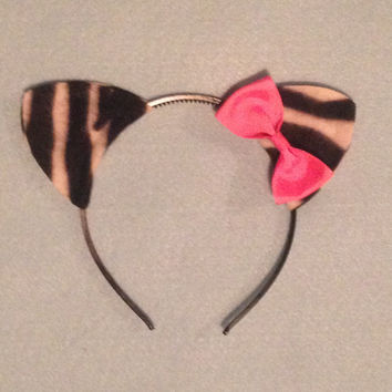 1 quantity headband Zebra with bow Jungle animal ears birthday party favors supplies theme Halloween Costume picture baby children adult