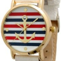 Women's Geneva Multi Color Striped Anchor Leather Watch - White
