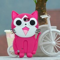 Cute 3D Cartoon Cat Case Cover for Samsung Galaxy Note 2 N7100 N7108 Rose